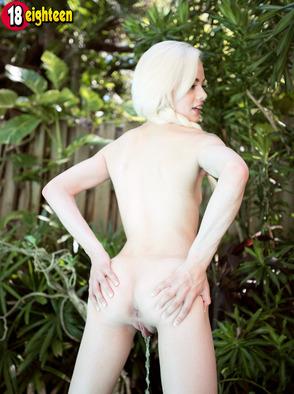 Petite Blonde Elsa Jean Showing Wet Pussy