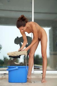 Slim Brunette Teen Antea Washing Windows