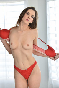 Hot Milf Alora Strips Red Lingerie