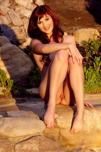 Redhead Cutie Ellena Woods Posing Outdoors