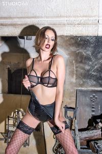 Cara Steel In Black Stockings