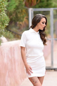 Lauren Louise Takes Off Her White Dress