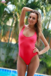Katya Clover Posing In Pink Body Bikini
