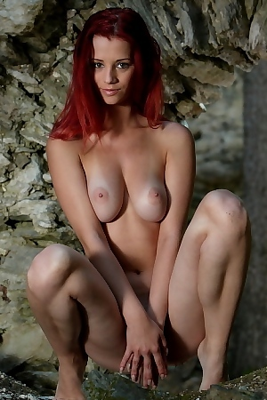 Ariel Redhead Pornstar With Hot Big Tits Outdoor Posing Nude