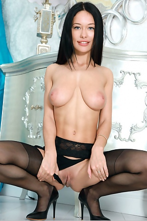 Cute Mila M In Black Stockings
