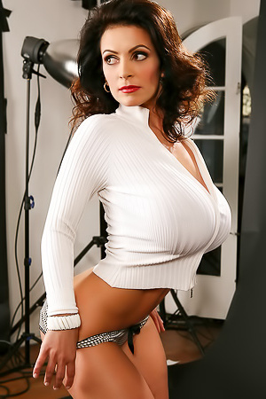 MILF Denise Milani Wearing Too Tight White Sweater