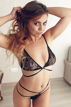 Busty Margo In Black Lingerie
