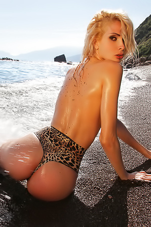 Amazing Blonde Babe Wet On The Beach