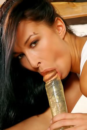 Brunette with dildo