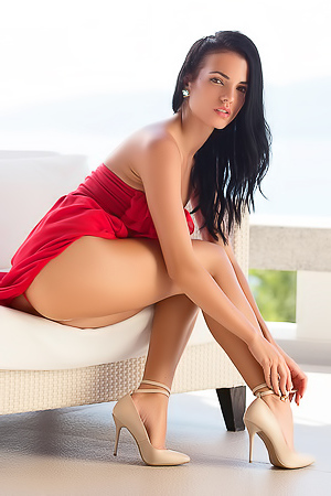 Sapphira In Sexy Red Dress