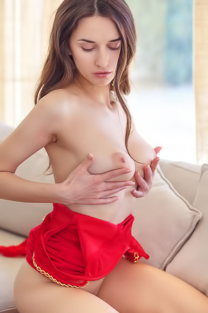 Gloria Sol Strips And Plays With Herself