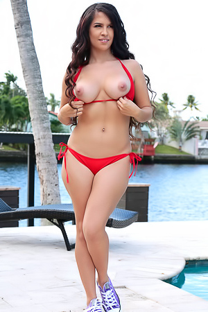 Hot Latina Caroline Ray Strips Off Her Sexy Red Bikini