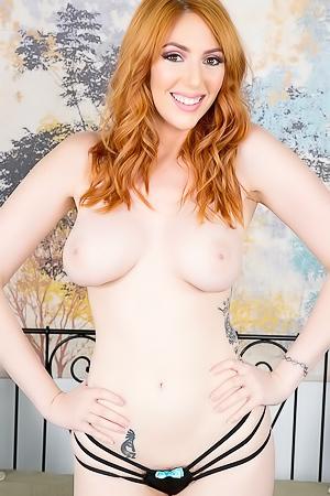 Busty Redhead Lauren Phillips Masturbates With A Huge Glass Dildo