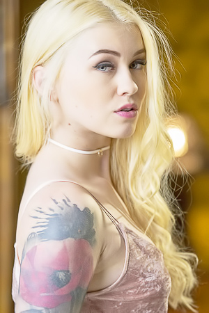 Mischa Cross Tatooed Blonde Stripping
