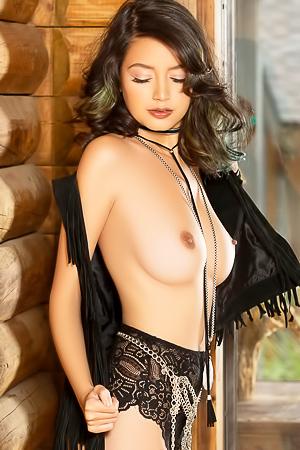 Playboy Cybergirl: Eden Arya Nude - log cabin photoshoot