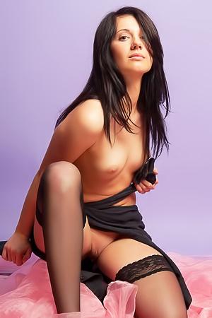 Cute Brunette Zara In Black Stockings