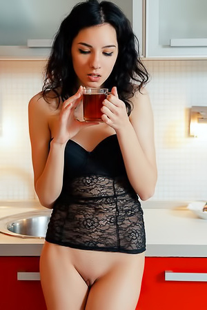 Hot tea in pussy.