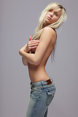 Blond girl in blue jeans